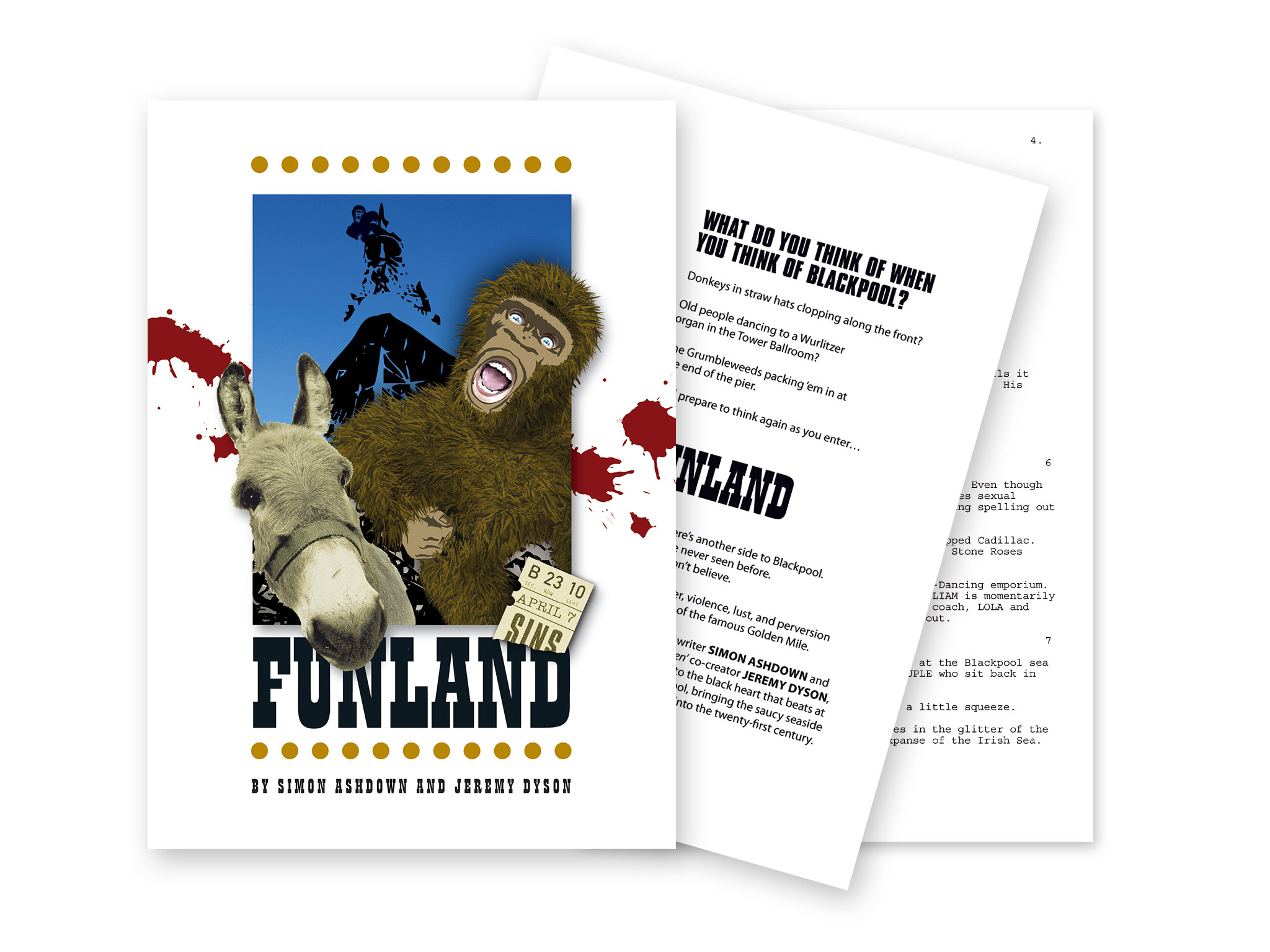 Funland pitch document showing cover and inner pages