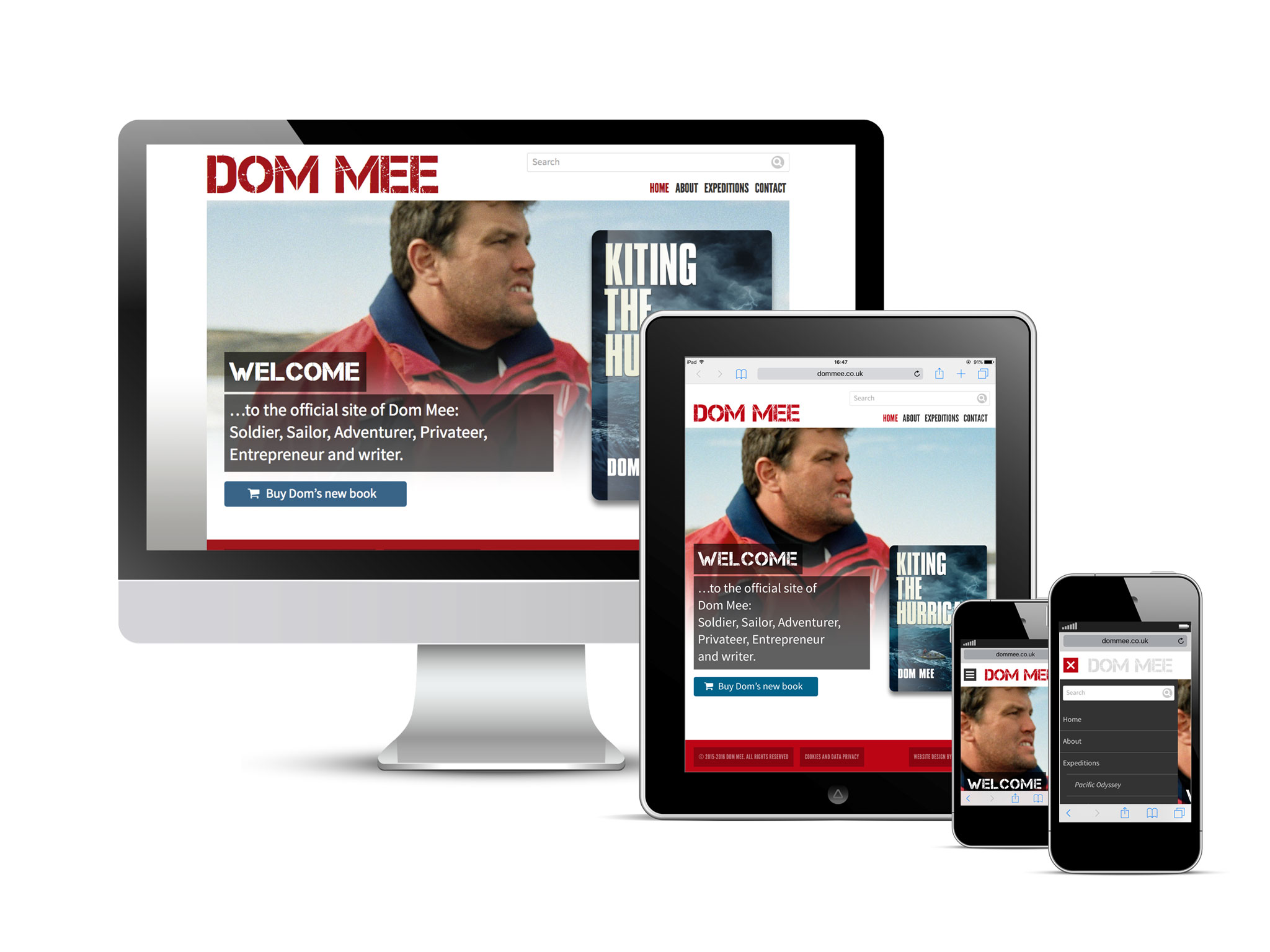 Dom Mee website displayed across multiple devices