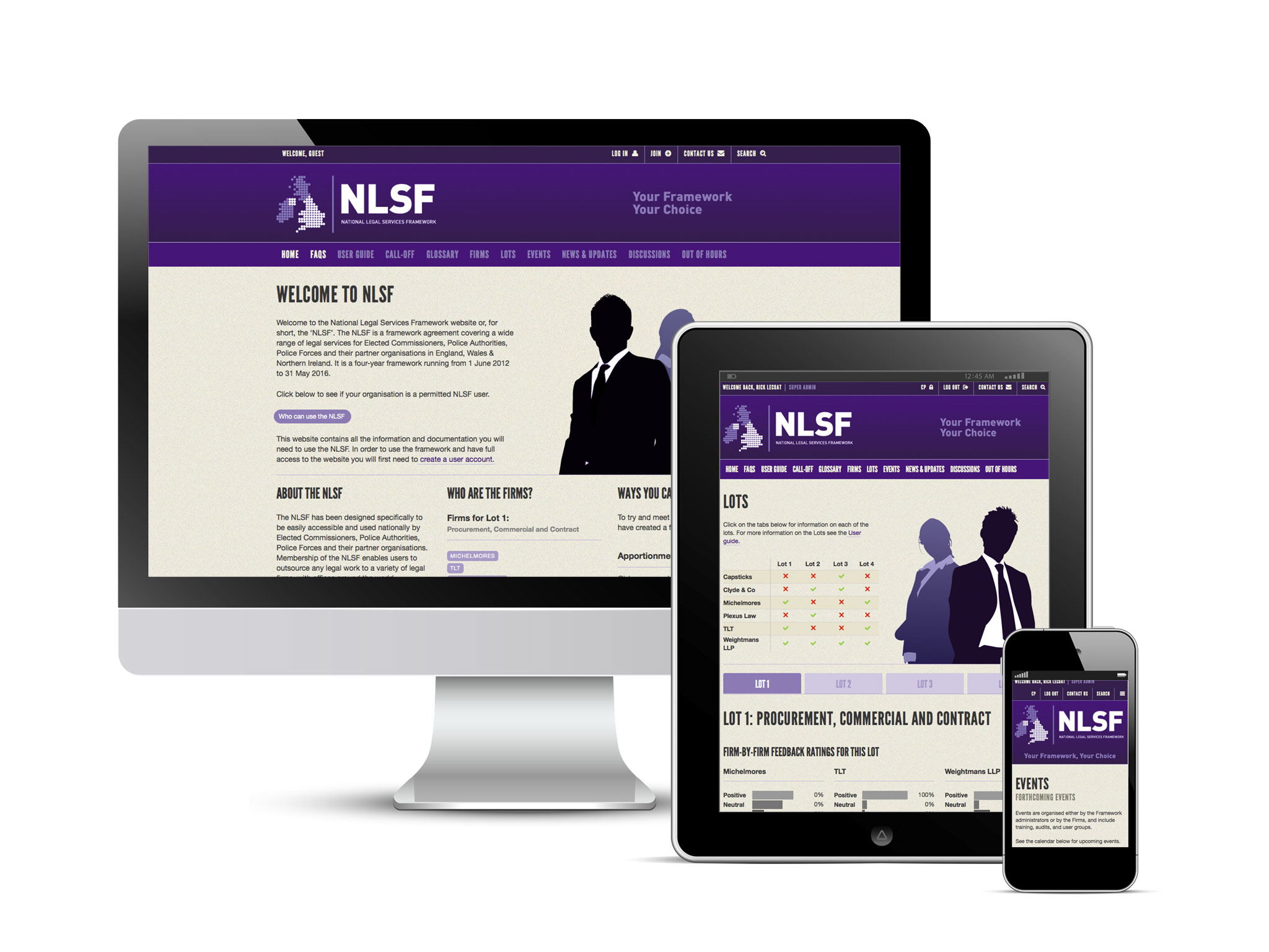 NLSF website displayed across multiple devices
