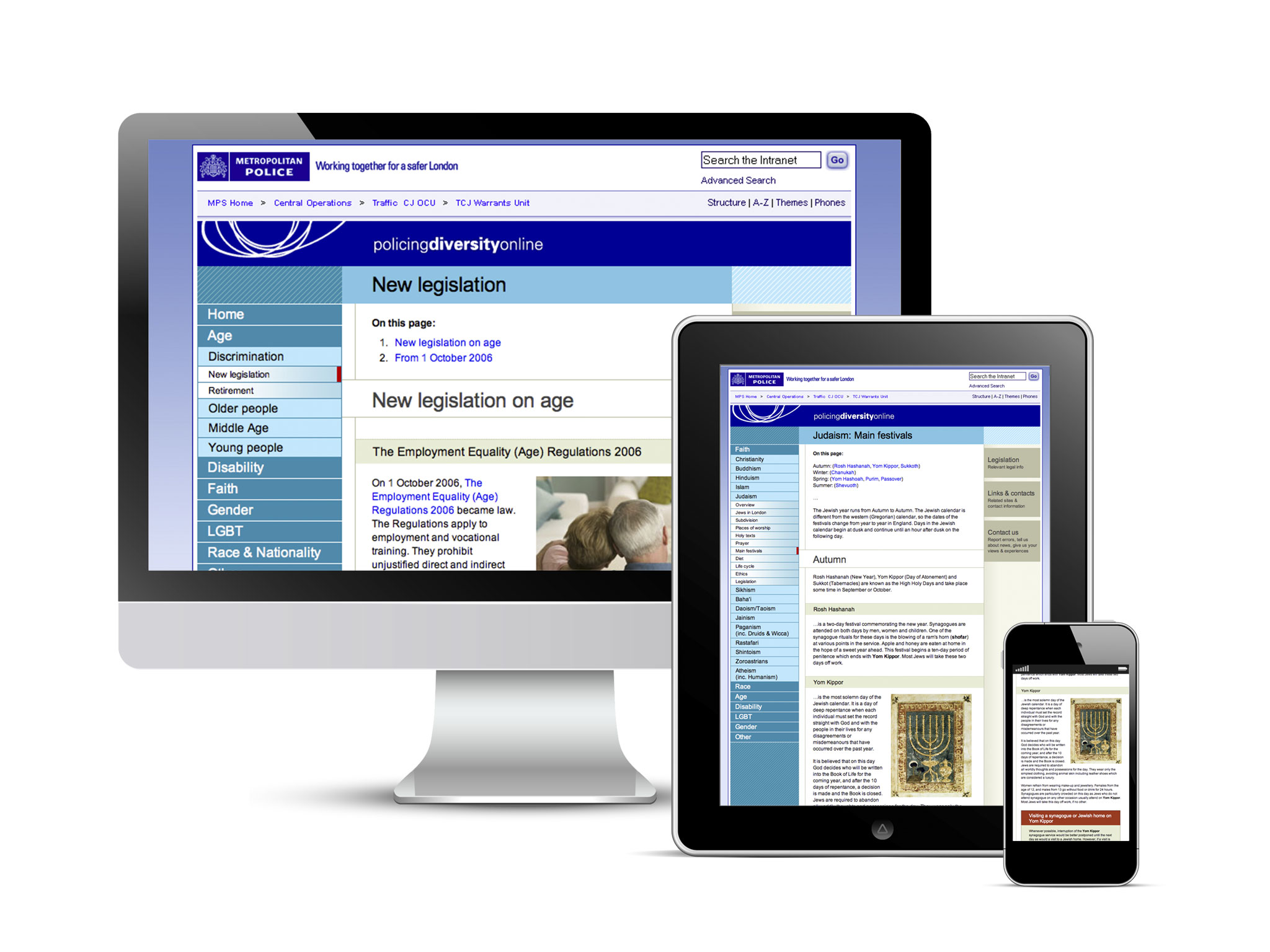 Policing Diversity website displayed across multiple devices
