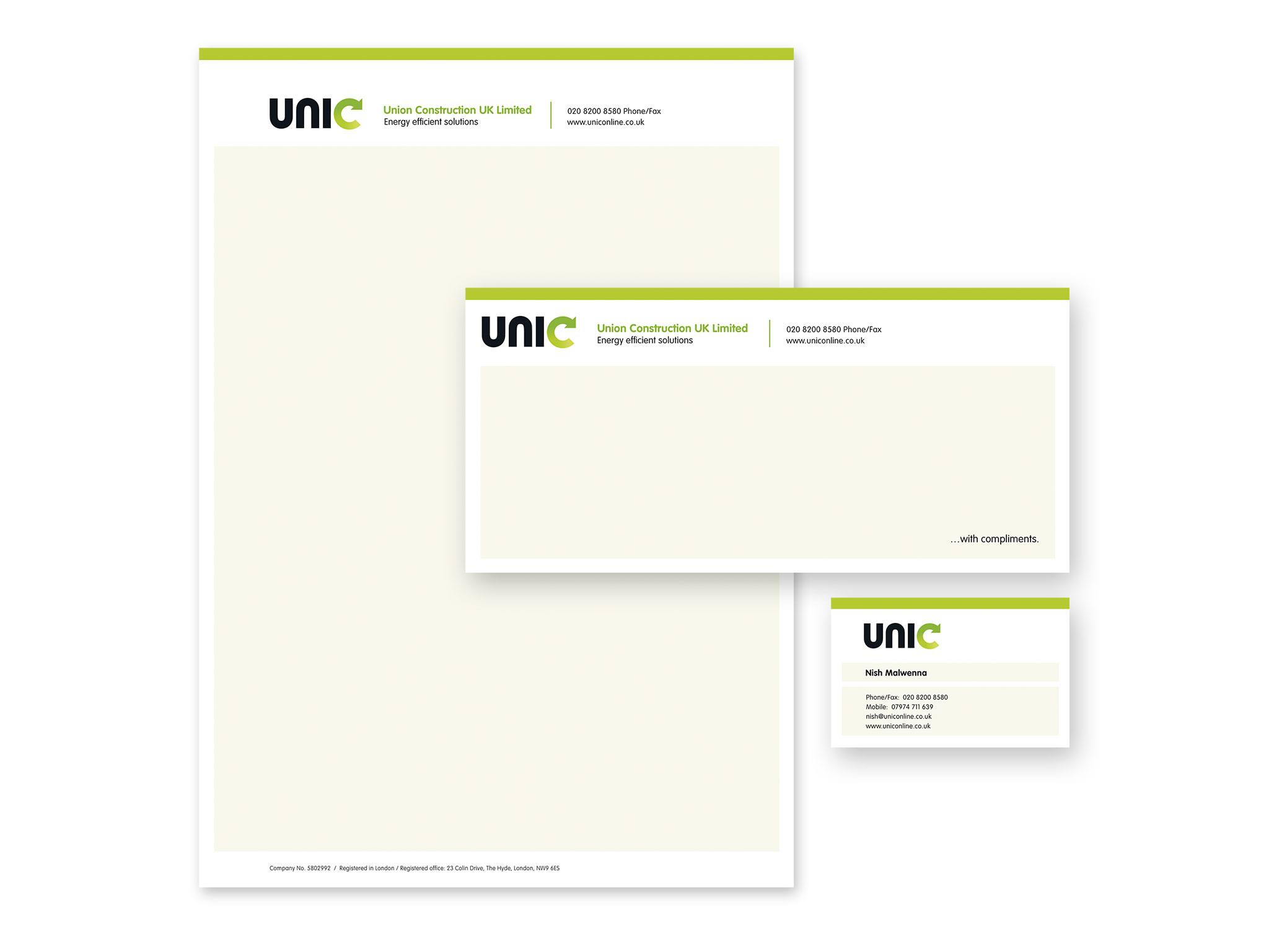 Ensemble shot showing design of stationery elements for UNIC